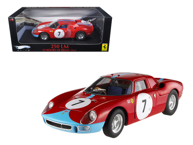 Ferrari 250 LM 12 Hours of Reims 1964 #7 Elite Edition 1/18 Diecast Car Model Hotwheels T6261