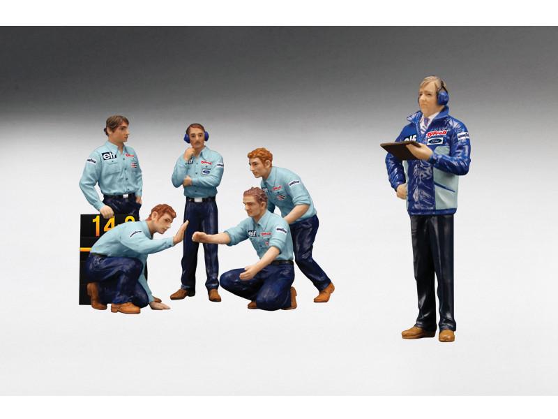 F1 Pit Crew Figures Team Tyrrell 1976 Set of 6pc 1/18 True Scale Miniatures 12AC12