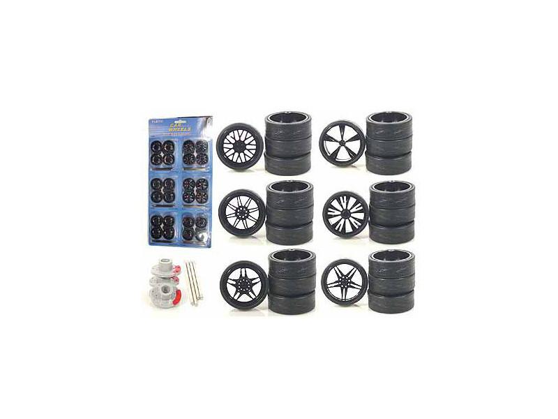 Custom Wheels for 1/18 Scale Cars and Trucks 24pc Wheels & Tires Set