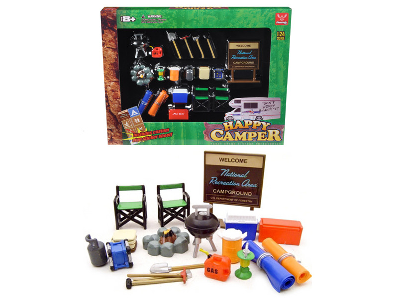 Happy Camper Accessories Set For 1/24 Diecast Car Models Phoenix Toys 18430