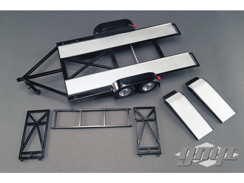 Tandem Car Trailer with Tire Rack Black 1/18 Diecast Model GMP 18820