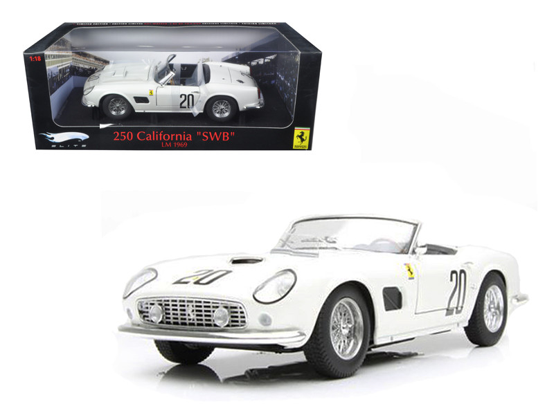 Ferrari 250 California SWB Lemans 1969 White #20 Elite Edition 1/18 Diecast Car Model Hotwheels T6931