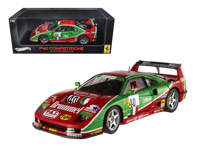 Ferrari F40 #40 Competizione 1995 Le Mans Elite Edition 1/18 Diecast Model Car Hotwheels V7427