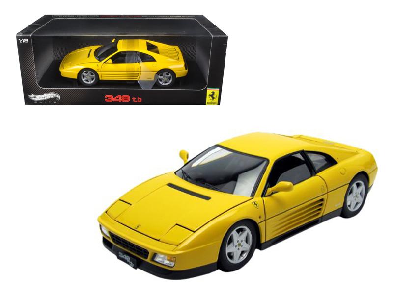 1989 Ferrari 348 TB Yellow Elite Edition 1/18 Diecast Car Model Hotwheels V7437