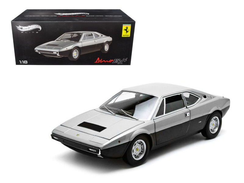1973 Ferrari Dino 308 GT4 Silver/Black Elite Edition 1/18 Diecast Car Model Hotwheels X5483