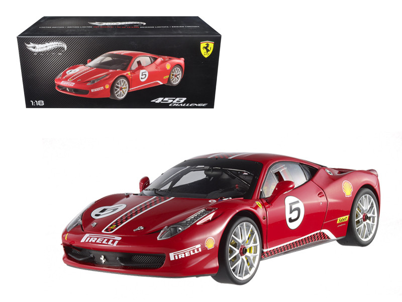 Ferrari 458 Italia Challenge Red #5 Elite Edition Limited Edition 1/18 Diecast Model Car Hotwheels X5486
