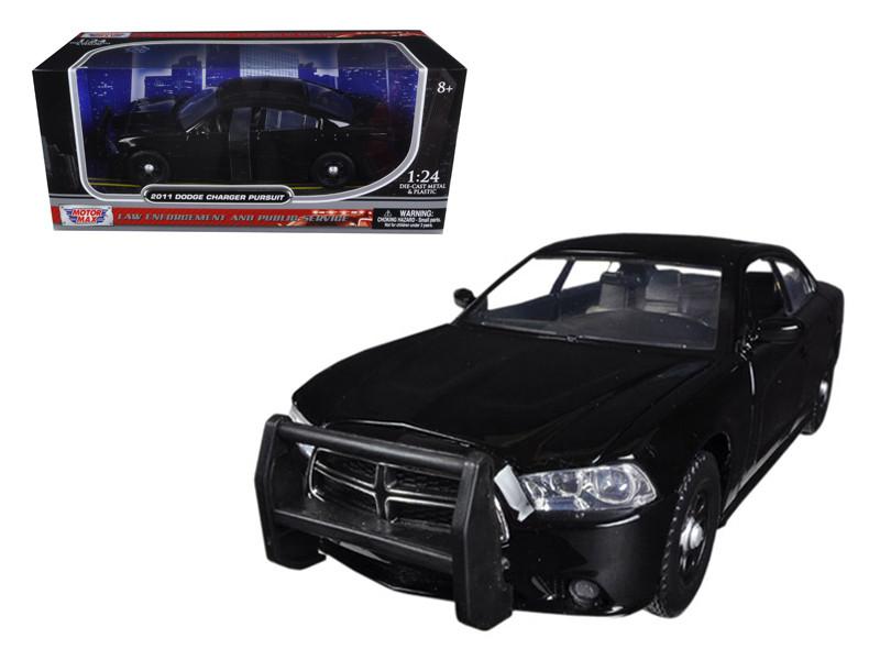 2011 Dodge Charger Pursuit Slick Top Unmarked Black Police Car 1/24 Diecast Car Model Motormax 76953