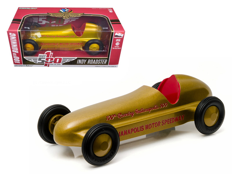 "Vintage Indy Roadster 100th Running of the Indianapolis 500 Special Gold Edition ""Hobby Exclusive"" 1/24 Diecast Model Car Greenlight 18230"