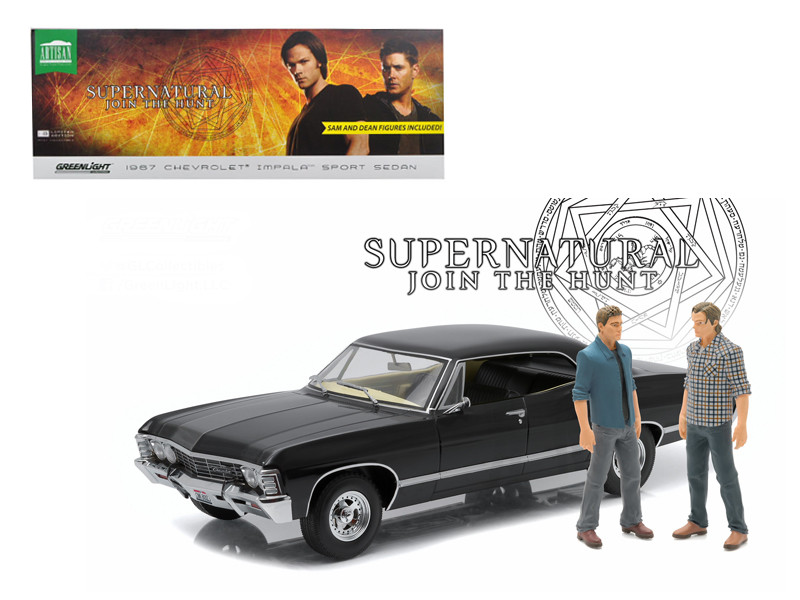 "1967 Chevrolet Impala Sport Sedan with Sam and Dean Figures ""Supernatural"" TV Series 2005 1/18 Diecast Model Car Greenlight 19021"