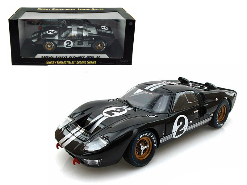 1966 Ford GT-40 MK 2 Black #2 1/18 Diecast Model Car Shelby Collectibles SC408