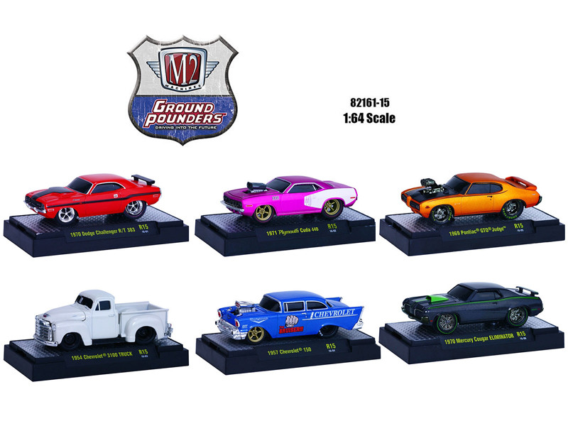 Ground Pounders 6 Cars Set Release 15 IN DISPLAY CASES 1/64 Diecast Model Cars M2 Machines 82161-15