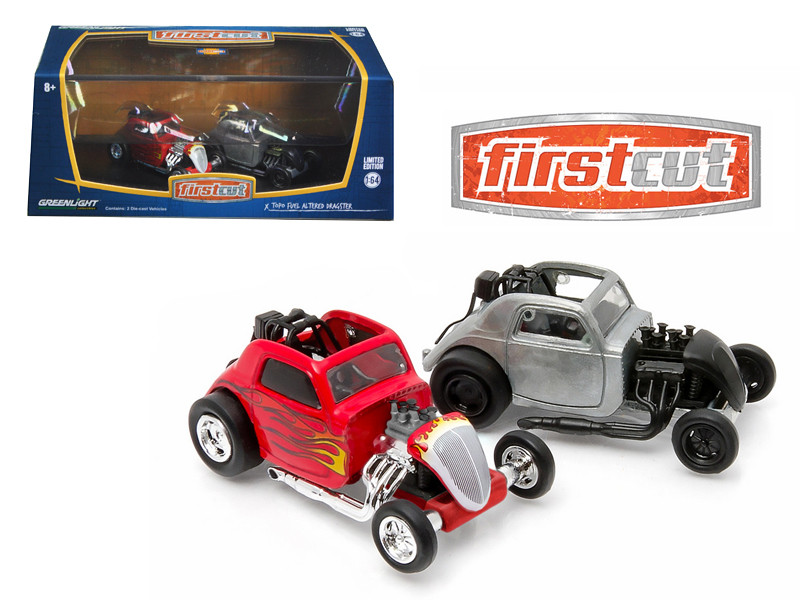 First Cut Topo Fuel Altered Hobby Only Exclusive 2 Cars Set 1/64 Diecast Model Cars Greenlight 29848