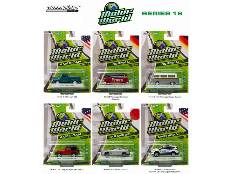 Motor World Series 16 6pc Diecast Car Set 1/64 Diecast Model Cars Greenlight 96160