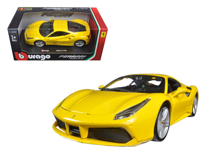 Ferrari 488 GTB Yellow 1/24 Diecast Model Car Bburago 26013