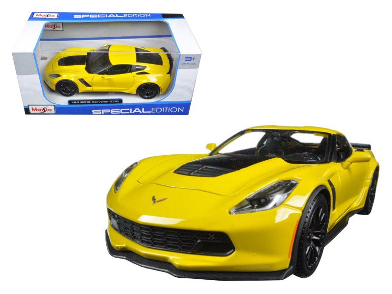 2015 Chevrolet Corvette Stingray C7 Z06 Yellow 1/24 Diecast Model Car Maisto 31133
