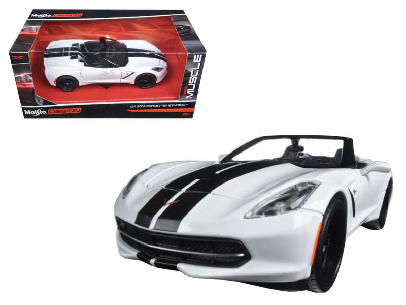 """2014 Chevrolet Corvette Stingray Convertible White/Black """"Modern Muscle"""" 1/24 Diecast Model Car Maisto 32501"""