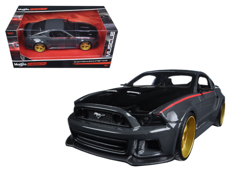 "Ford Mustang Street Racer Grey and Black ""Modern Muscle"" 1/24 Diecast Model Car Maisto 32502"