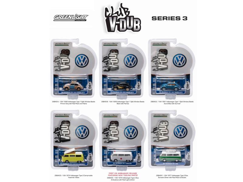Greenlight Vee V Dub Series 3 6pc Diecast Car Set 1/64 Diecast Model Cars Greenlight 29840