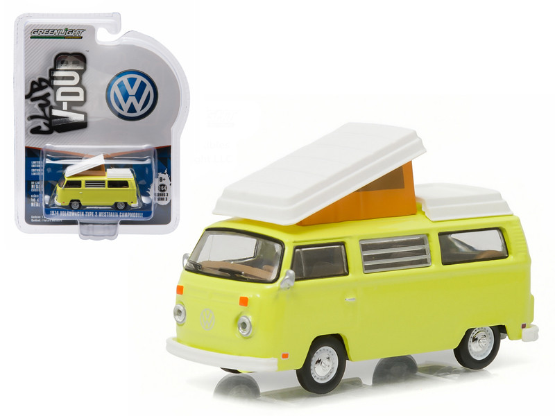 1974 Volkswagen Type 2 Bus (T2B) Westfalia Campmobile Yosemite Yellow 1/64 Diecast Model Car Greenlight 29840 D