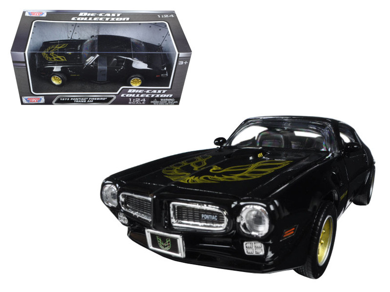 1973 Pontiac Firebird Trans Am Black with Gold Wheels 1/24 Diecast Model Car Motormax 73243