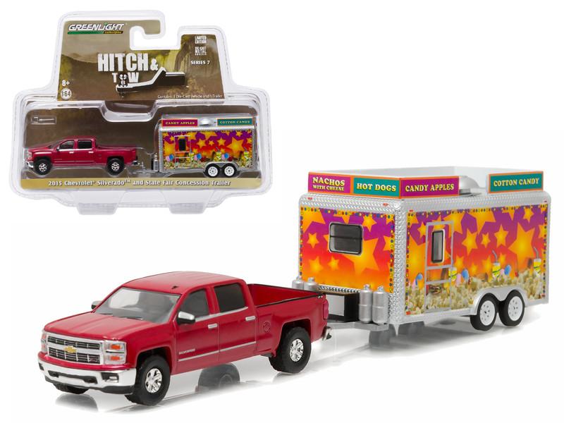 2015 Chevrolet Silverado & State Fair Concession Trailer Hitch & Tow Series 7 1/64 Diecast Car Model Greenlight 32070 A