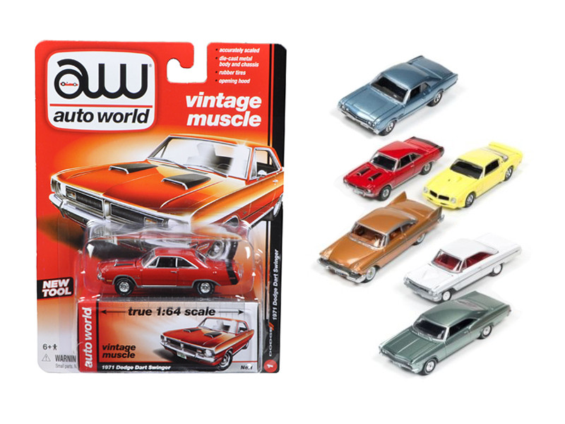Autoworld Muscle Cars Release 5A Premium Licensed Set Of 6 Cars 1/64 Diecast Model Cars Autoworld 64042 A