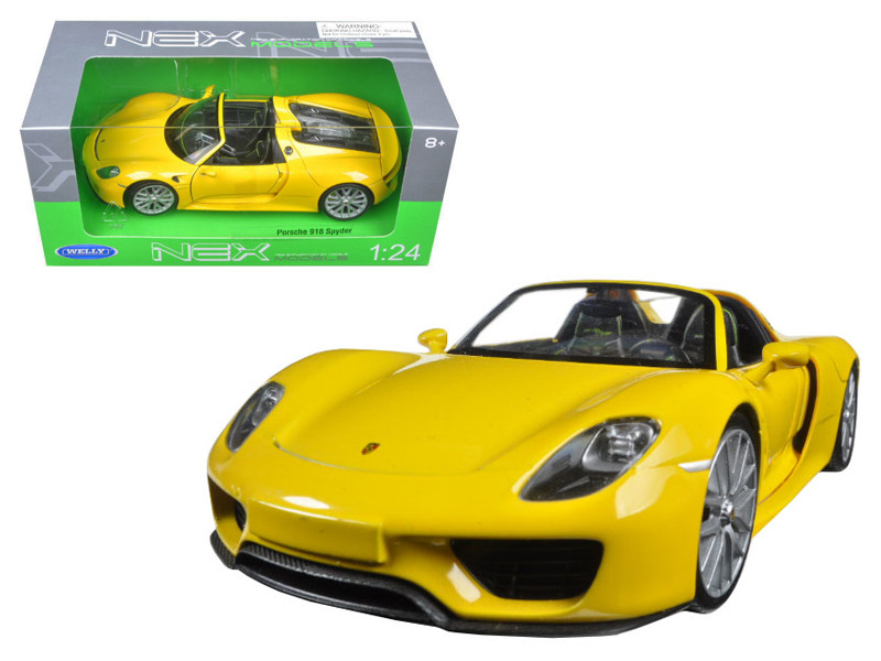 Porsche 918 Spyder Yellow Open Roof 1/24 Diecast Model Car Welly 24055