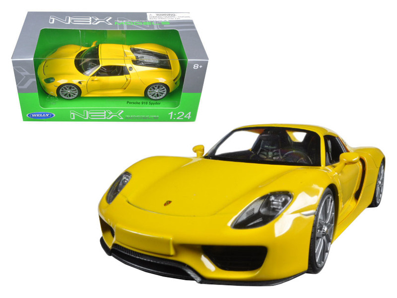Porsche 918 Spyder Yellow Closed Roof 1/24 Diecast Model Car Welly 24055