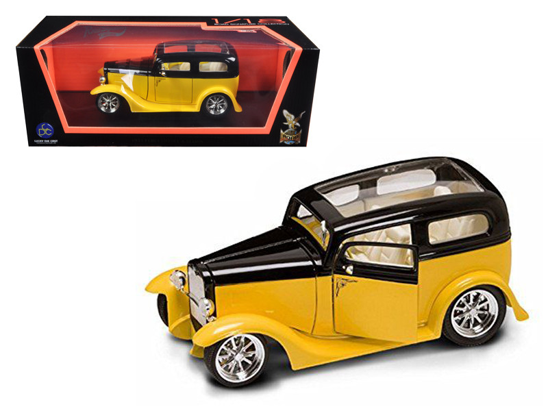1931 Ford Model A Sedan Yellow/Black 1/18 Diecast Car Model Road Signature 92848