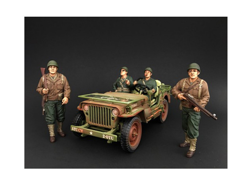 US Army WWII 4 Piece Figure Set For 1:18 Scale Models American Diorama 77410 77411 77412 77413