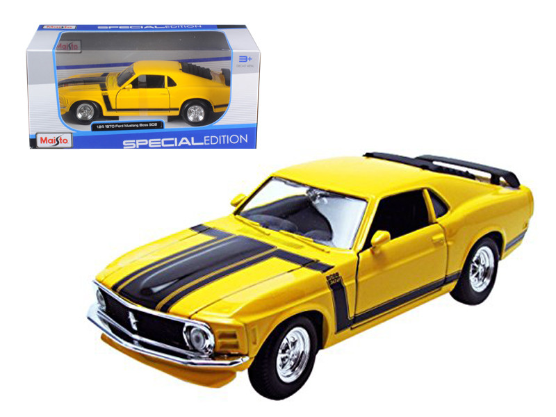 1970 Ford Mustang Boss 302 Yellow 1/24 Diecast Model Car Maisto 31943