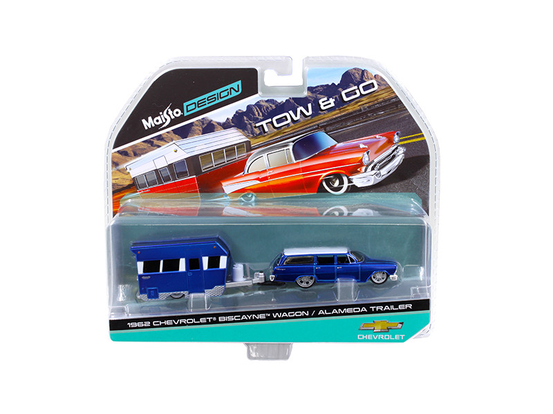 1962 Chevrolet Biscayne Wagon with Alameda Trailer Blue Tow & Go 1/64 Diecast Model Maisto 15368 A