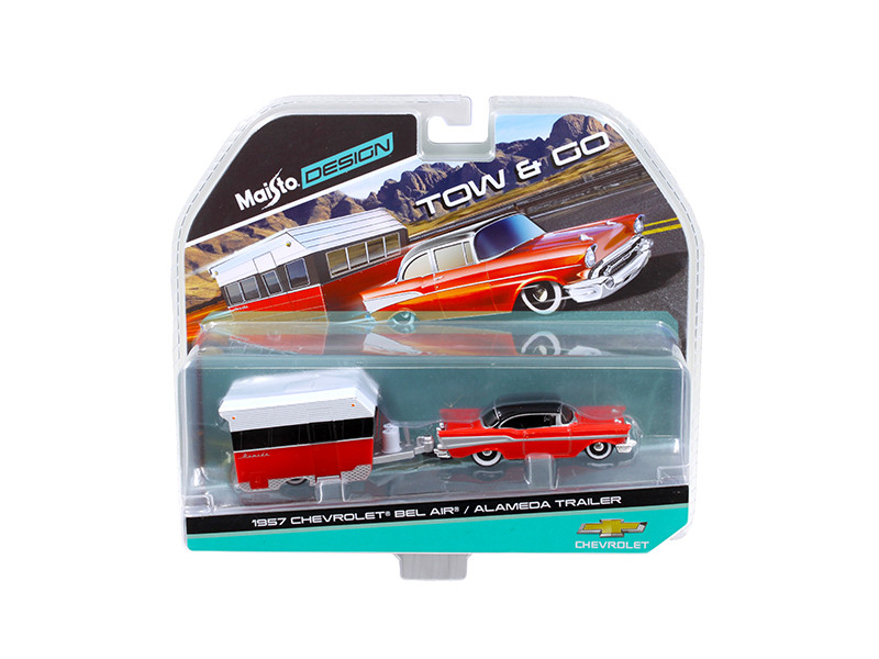 1957 Chevrolet Bel Air with Alameda Trailer Red Tow & Go 1/64 Diecast Model Maisto 15368 B