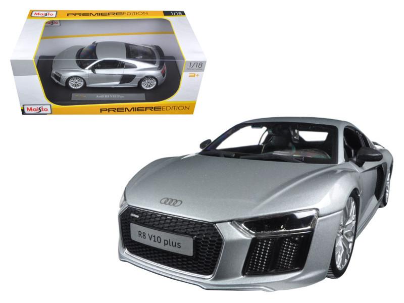 Audi R8 V10 Plus Silver 1/18 Diecast Model Car Maisto 36213