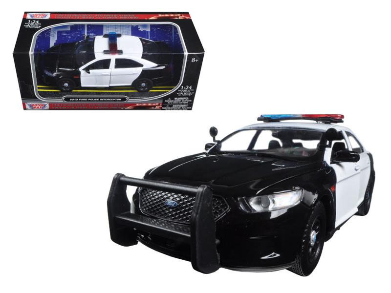 2013 Ford Police Car Interceptor Unmarked Black/White 1/24 Diecast Model Car Motormax 76925