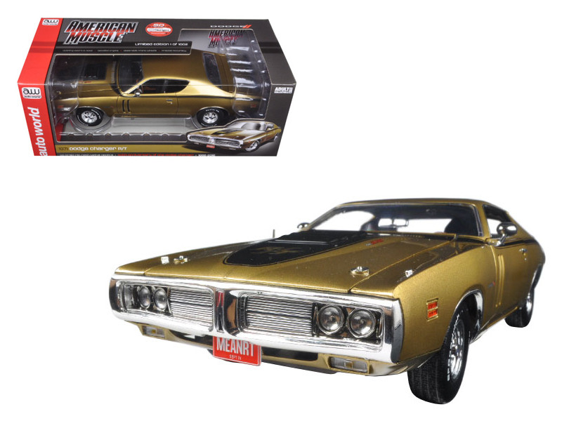1971 Dodge Charger R/T 440 Six Pack 50th Anniversary GY8 Metallic Gold Limited Edition to 1002pc 1/18 Diecast Model Car Autoworld AMM1086