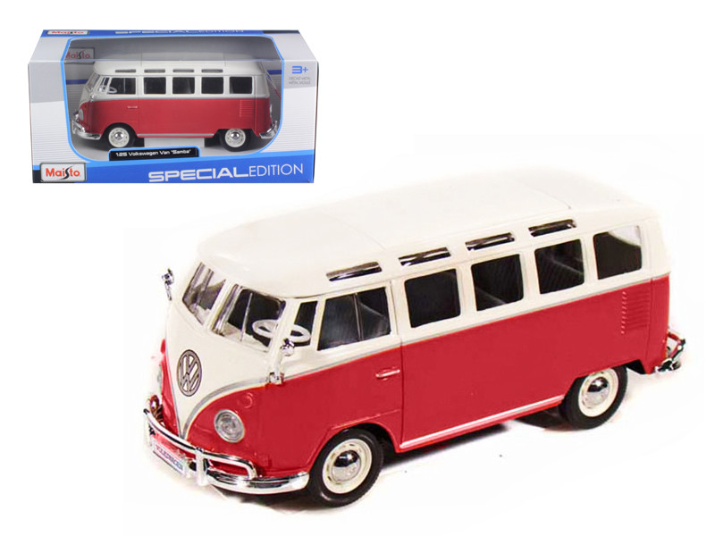 Volkswagen Samba Bus Red 1/25 Diecast Model Car Maisto 31956