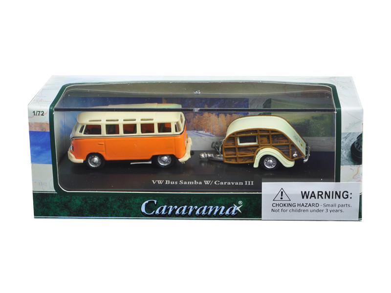 Volkswagen Bus Samba Orange with Caravan III Trailer in Display Showcase 1/72 Diecast Car Model by Cararama