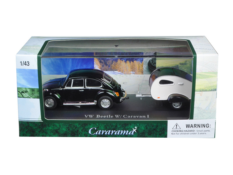 Volkswagen Beetle Black With Caravan I Trailer And Display Case 143 Diecast Car Model By Cararama