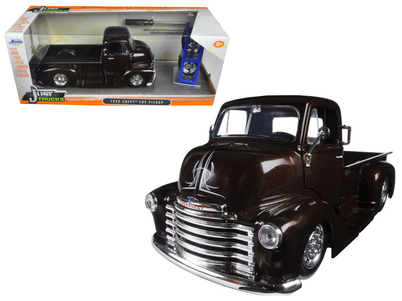 "1952 Chevrolet COE Pickup Truck Brown ""Just Trucks"" with Extra Wheels 1/24 Diecast Model Car Jada 98021"