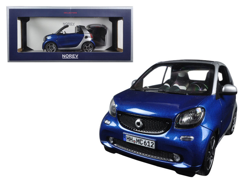2015 Smart For Two Cabrio Blue and Silver 1/18 Diecast Model Car Norev 183438