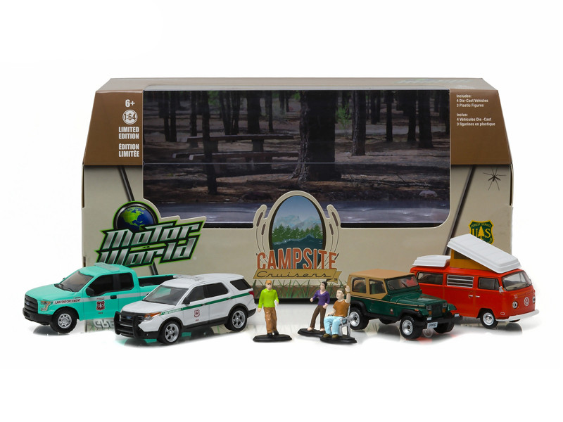 Motor World Diorama Campsite Cruisers United States Forest Service USFS Edition 7pcs Set 1/64 Diecast Models Greenlight 58031