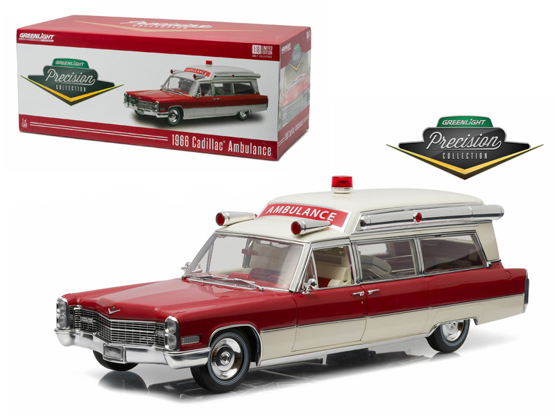 1966 Cadillac S&S 48 High Top Ambulance Red and White Precision Collection Limited Edition 1/18 Diecast Model Car Greenlight 18003