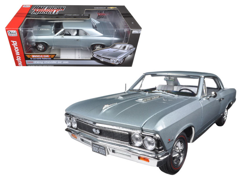1966 Chevrolet Chevelle SS Silver Chateau Slate Limited Edition to 1002pc 1/18 Diecast Model Car Autoworld AMM1090