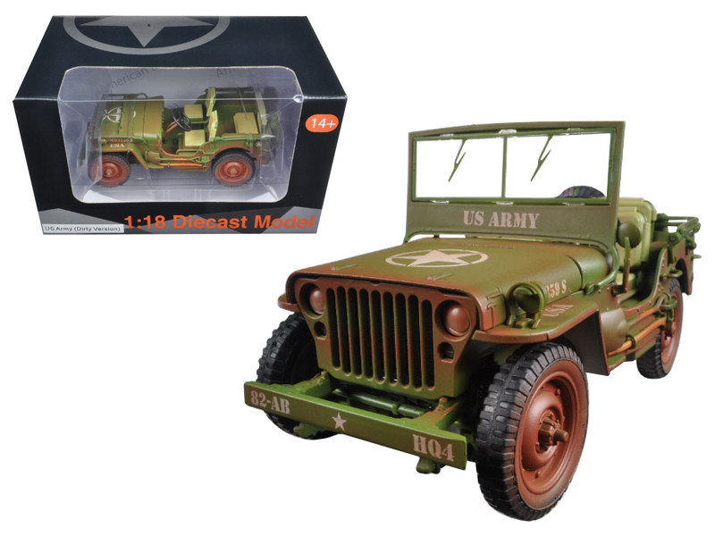 US Army WWII Vehicle Green Weathered Version 1/18 Diecast Model Car American Diorama 77404 A