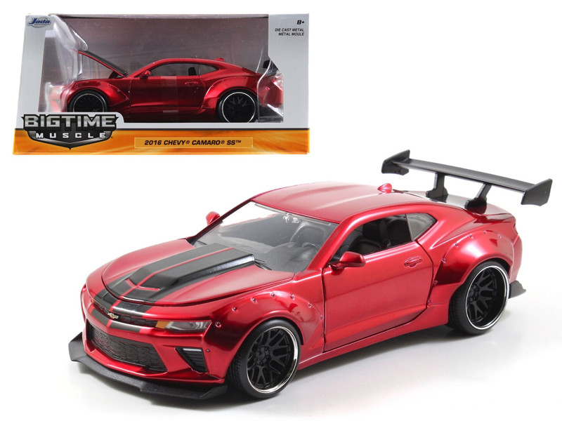 2016 Chevrolet Camaro SS Wide Body Candy Red With Black Stripes 1/24 Diecast Model Car Jada 98136