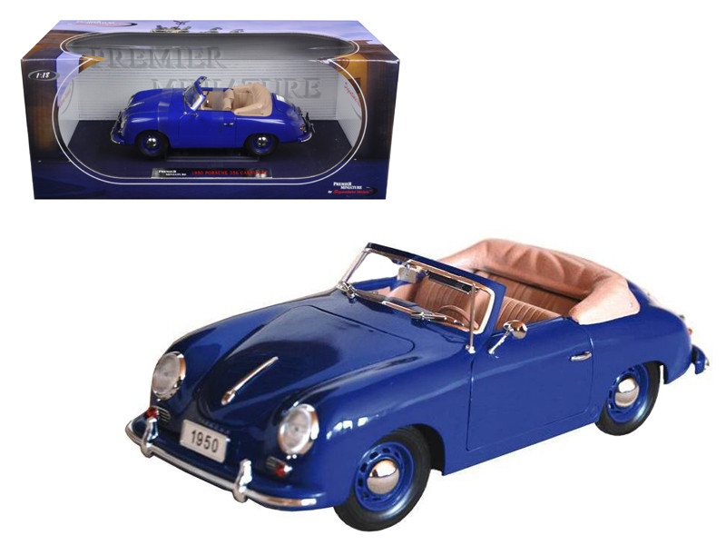 1950 Porsche 356 Convertible Blue 1/18 Diecast Model Car Signature Models 38201