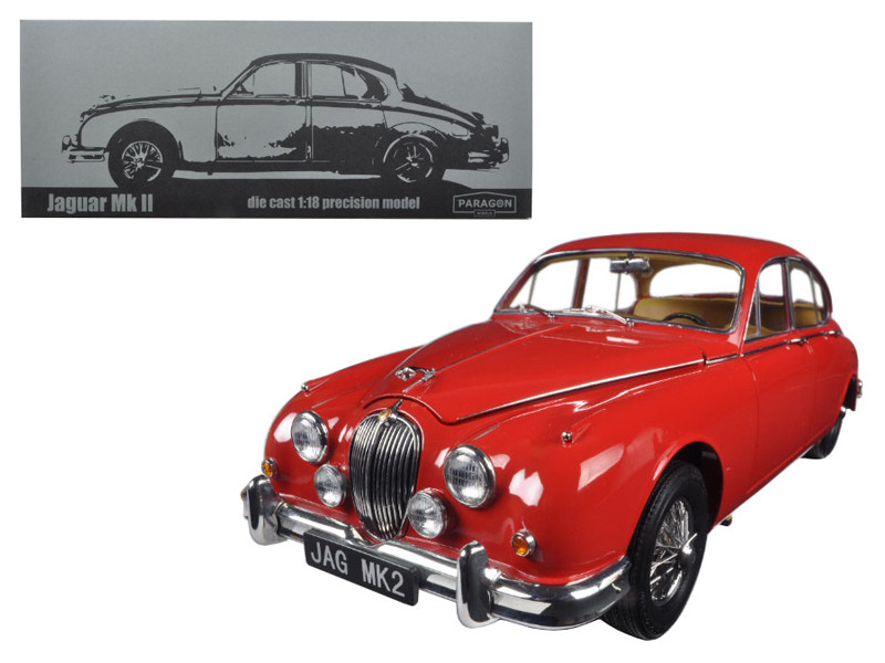 1962 Jaguar Mark 2 3.8 Carmen Red Left Hand Drive 1/18 Diecast Model Car Paragon 98322