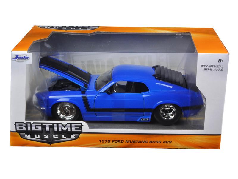 1970 Ford Mustang Boss 429 Blue 1/24 Diecast Model Car Jada 98026