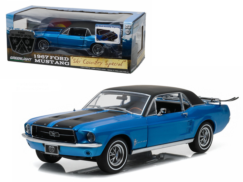 "1967 Ford Mustang Coupe ""Ski Country Special"" Vail Blue 1/18 Diecast Model Car Greenlight 12965"
